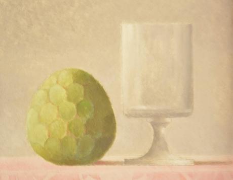 Copa de cristal y alcachofa