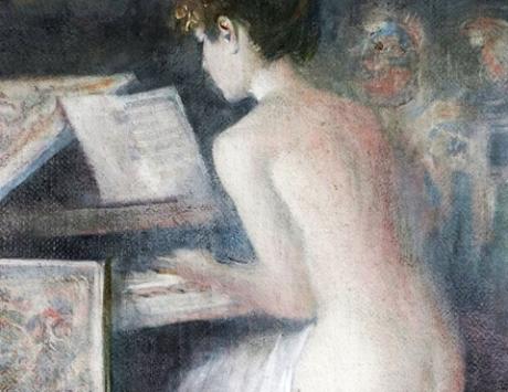 Muchacha tocando el clavicordio