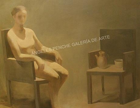 Mujer sentada con bodegón