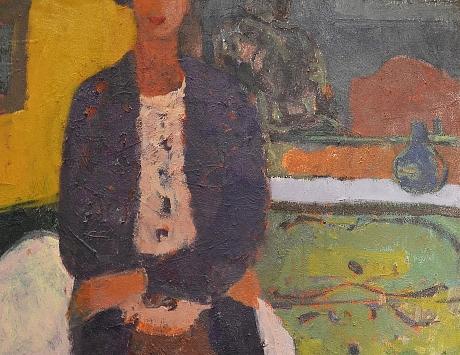 Señora con fondo amarillo