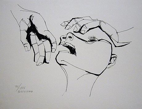 Cabeza y dos manos